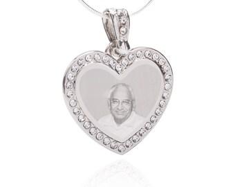 Photo Engraved QR Code Jewerly Pendant- Heart Gem