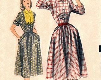 Advance 5868 Genteel Dress with Pretty Yoke & Pockets / ca. 1951 / SZ15 FACTORY FOLDS