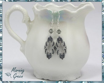Silver Peyote Marquise Earrings, Silver and  Dark Steel-grey Seed Bead Earrings, Marquise Earrings(164)
