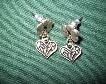 Silvertone Earrings with Flowers and Hearts
