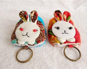 Cute rabbit cotton applique key pocket kawaii keyring colorful keychain