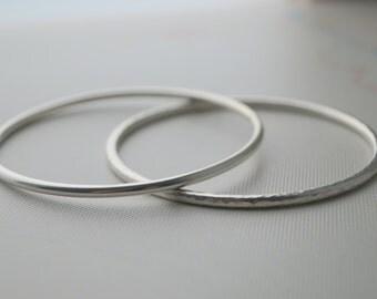 Sterling Silver Bangle Bracelet - custom handmade - solid 3mm - high shine, hammered or brushed finish. Chunky bangle - By Mint & Vintage