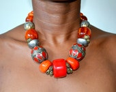 Moroccan amber necklace berber faux red coral resin vintage antique jewelry Turkoman silver dome statement