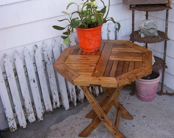 Octagon porch patio sunroom yard garden indoor outdoor side table hand made stain Early American