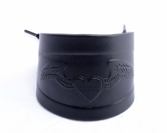 Black Leather Wrist Cuff. Winged Heart Wrist Cuff. Lace Up Black Leather Wrist Cuff. Handmade Winged Heart Cuff Made By Leather Meister.
