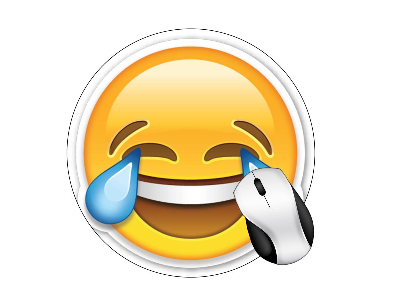 Emoji Happy Tears Round Mouse Pad