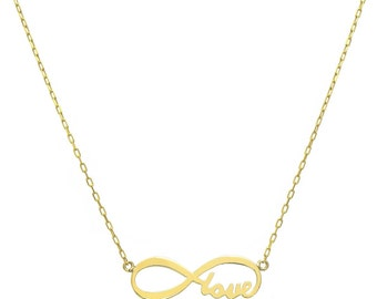 14K Yellow Gold Love Forever Infinity Necklace - Style 2