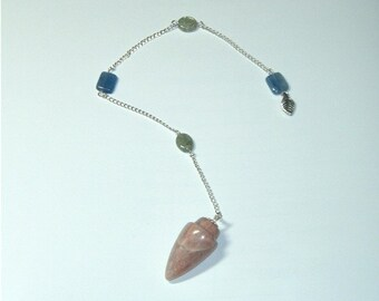 Crystal Pendulum - Clear Insight - Moonstone, Green Kyanite, and Blue Kyanite Pendulum for energy work or divination