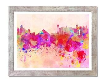 Las Vegas skyline in watercolor background- SKU 0093