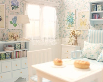 Light Blue Dreams - Living Room Doll OOAK Diorama- Bluthe/Pullip/Pukifee/Lati/Yosd/BJD/Dal
