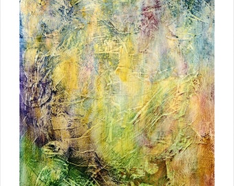 Giclee, Fine Art Print, Abstract, yellows, greens and blues**ships free**