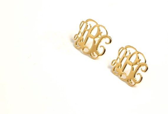 Post Monogram Earring- 1 inch Personalized Monogram - 18K Gold Plated