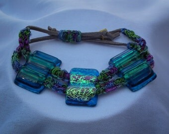 Blue Fused Glass and Macrame Bracelet