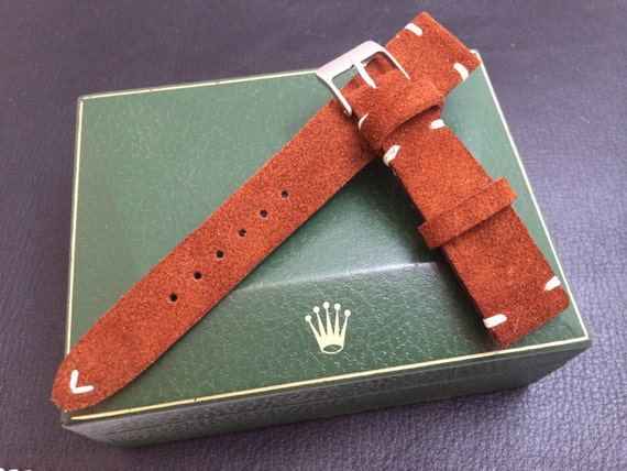 Handmade suede brown color vintage Leather Strap, leather watch band for Rolex - 18mm/19mm/20mm lug width, 16mm buckle - Father's Day gift