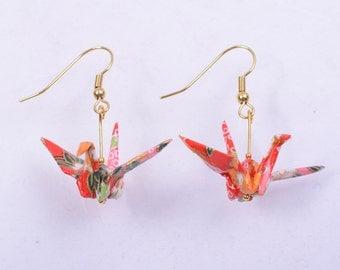 Origami Crane Earrings - Japanese Origami Earrings (Pair) for Good Luck, Fidelity and Peace, Handmade Earrings