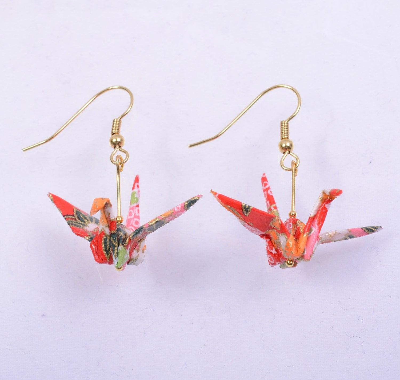 origami crane earrings japanese origami earrings pair for