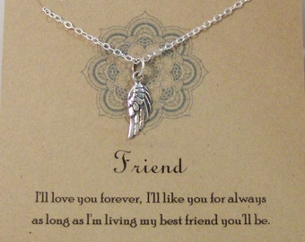 I'll Love You Forever,Jewelry,Poem,Quote,Friend,Friendship Necklace,Friends,Necklace,Charm,Angel,Angel Wing,Angel Wing Necklace,Angel