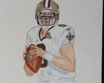 Print of Drew Brees of the New Orleans Saints Marker Drawing