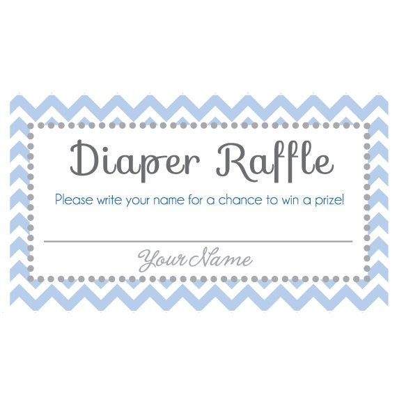 Baby Shower Diaper Raffle Ticket! With Name Space! Instant Download ...