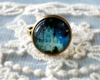 1 Piece of 14 mm Castle Pattern Antiqued Bronze Fingerring  (.cm)