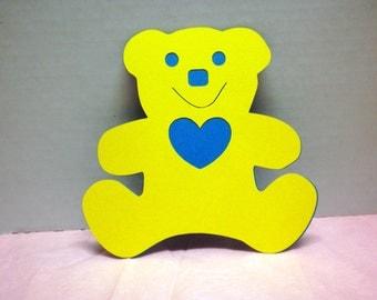 5 Die Cut Teddy Bear-Scrapbook Die Cut, Teddy Bear, Yellow Bear, Embellishments, Scrapbooking, Decorations-DCYB-9