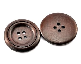 10 pcs Wooden Buttons 30mm / Dark Brown