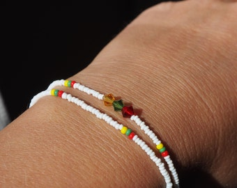 LITHUANIA * bead wristband with 3 Swarowski crystals * handmade in Berlin * for him and her