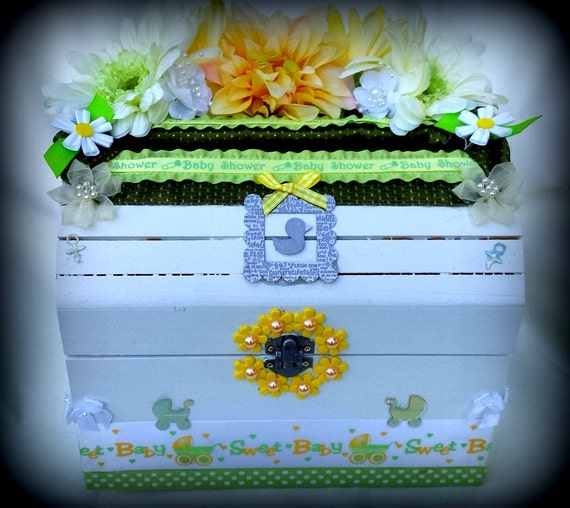 baby shower card box gender nuetral by 2die4decor on etsy