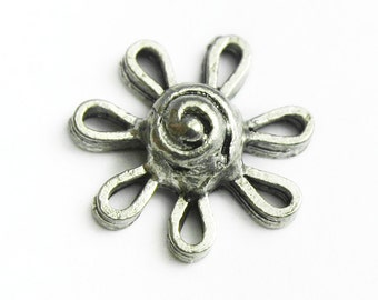 Silver Flower Connector, Solid Pewter, Made in USA,  #Q118
