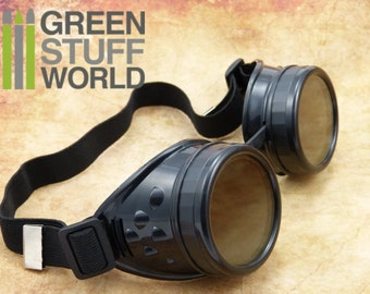 SteamPunk GOGGLES in BLACK color - with adaptable elastic bands