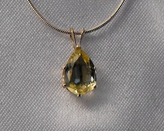 Yellow Quartz and Sterling Silver Necklace  (GS-61)
