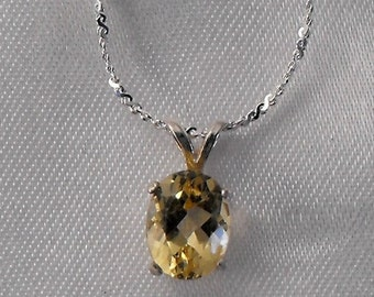 Citrine and Sterling Silver Necklace - Gemstone Jewelry (GS-379)