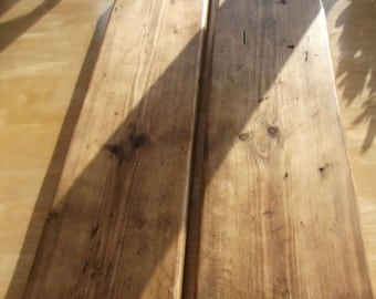 RUSTIC SHELVES X 2 .  1000 X 225 X 35mm. Handmade from reclaimed timber.Finished in Briwax rustic pine