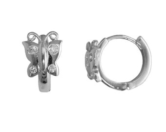 SH03 Sterling Silver 10mm Small Butterfly Accent Cubic Zirconia Huggie Hoop Earrings