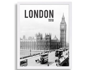 London Wall Art Old Photo of London England Black and White Photography Parliament 1918 Classic London Old London Vintage Art Modern Art