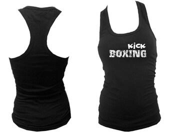 Kickboxing kick boxing distressed print black women teens sleeveless tank top S/M/L/XL