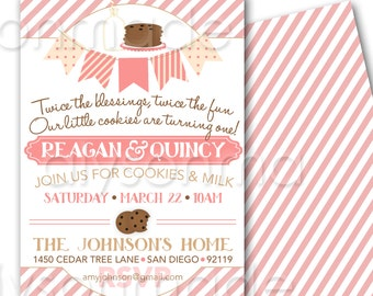 Cookies and Milk Twins Party Invitation - Birthday Invite customized and personalized - digital file