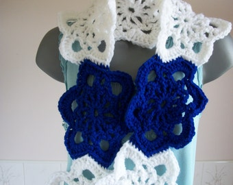"""Boho scarf, blue and white alternate Stars, 57"""" long, 7"""" wide, Crochet chunky, Accessories, Ladies Fashion, Ideal Gift"""