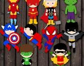 superhero baby shower or superhero party digital printable characters, table, cake or wall decor, printable digital files