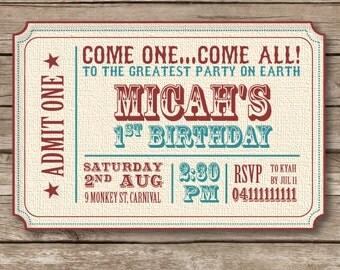 Vintage Circus Theme Birthday Party Invitation- Printable File