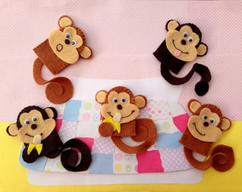 Five Little Monkeys Finger Puppet Set