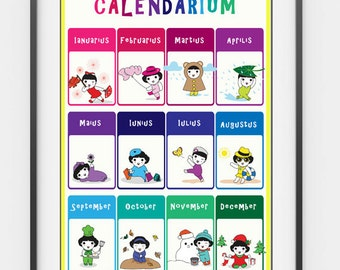 Printable Latin Months of the Year Poster
