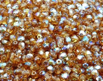 100pcs Czech Fire-Polished Faceted Glass Beads Round 4mm Smoked Topaz AB