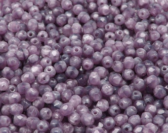 100pcs Czech Fire-Polished Faceted Glass Beads Round 4mm Violet/White Moonlight
