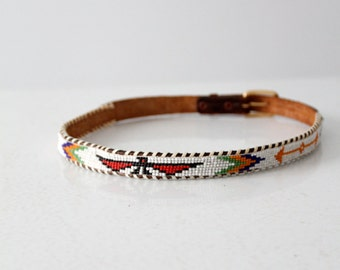 vintage kids western belt, 1950s beaded leather belt