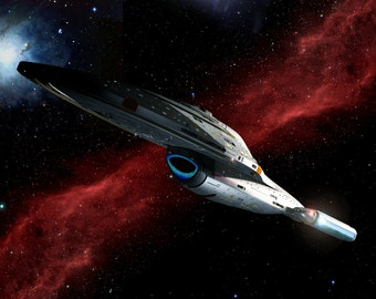 Star Trek Digital Art  Glossy Print  'Voyager Crossing The Nebula'