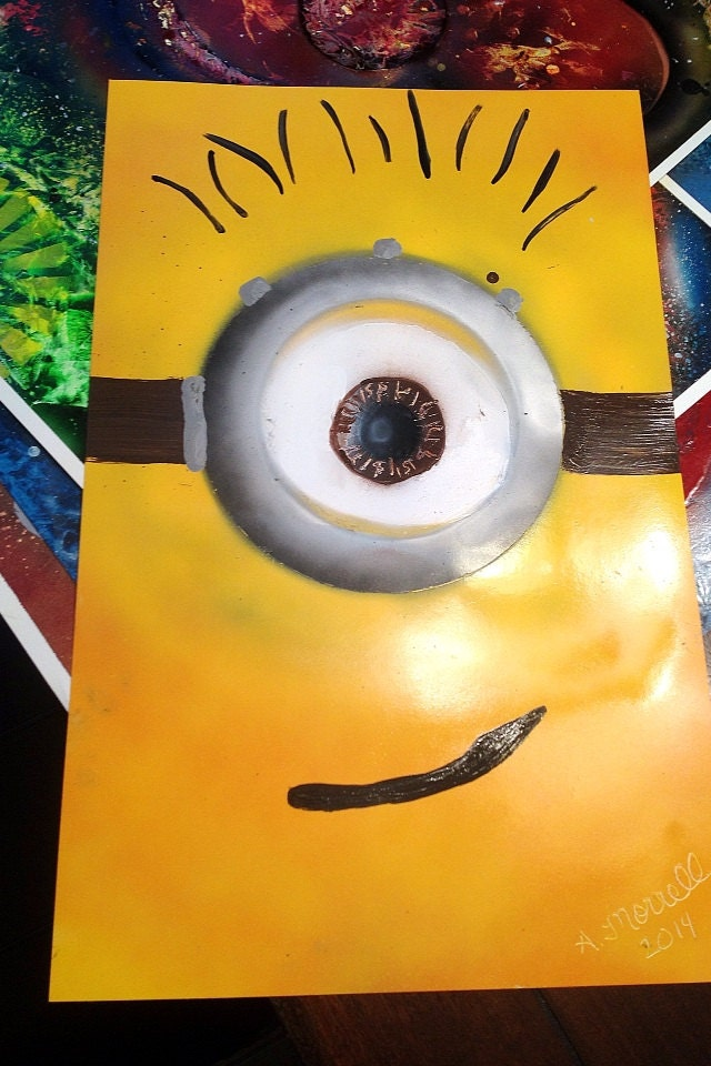 despicable me minion yellow spray paint art by. Black Bedroom Furniture Sets. Home Design Ideas