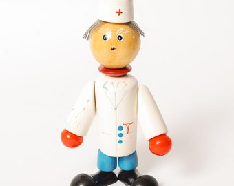 Vintage Russian Wooden Toy, the Doctor (RT035)