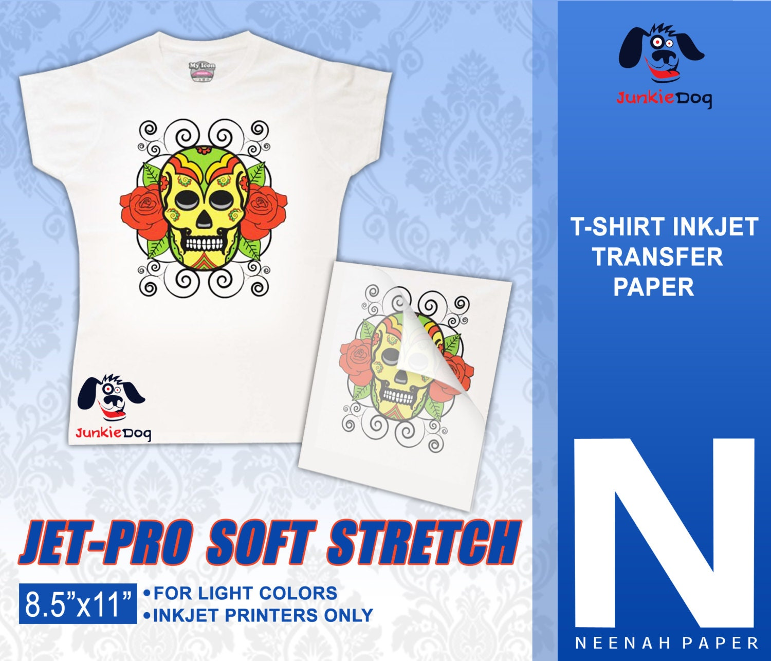 100 sheets neenah jet pro sofstretch inkjet heat for Best quality t shirt transfer paper