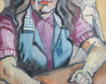 Vintage portrait oil painting expressionist composition